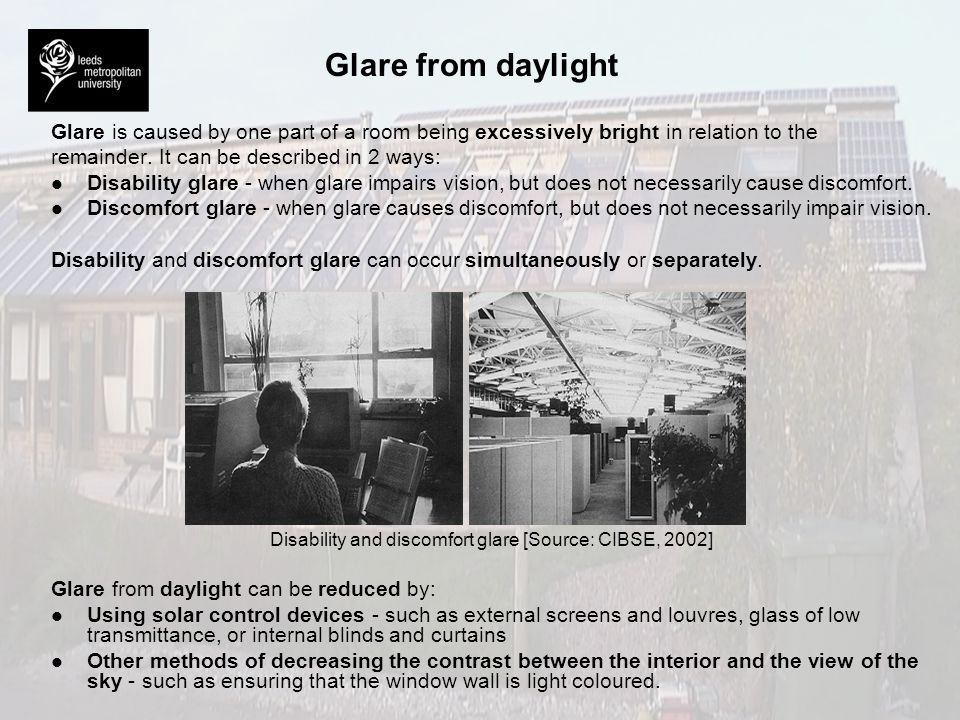 Disability and discomfort glare [Source: CIBSE, 2002]
